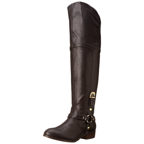 Report Signature Womens Geena Pointed Toe Knee High Riding Boots