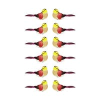 Pack of 12 Delightful Red and Yellow Spotted Bird Christmas Ornaments 4.75""