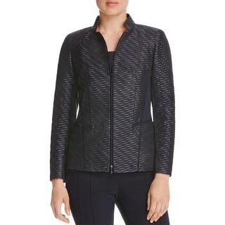 Lafayette 148 Womens Open-Front Blazer Wool Blend Shimmer - 6