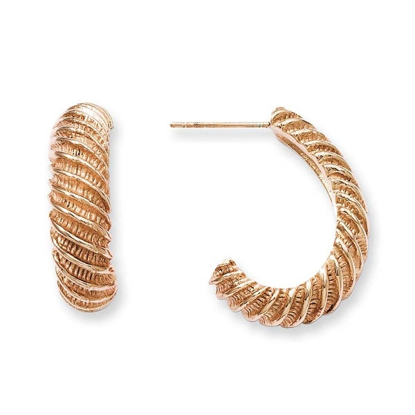 Stainless Steel Rose Gold-plated Textured J Hoop Earrings