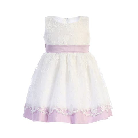Lito Baby Girls Lilac Embroidered Sash Bow Easter Dress