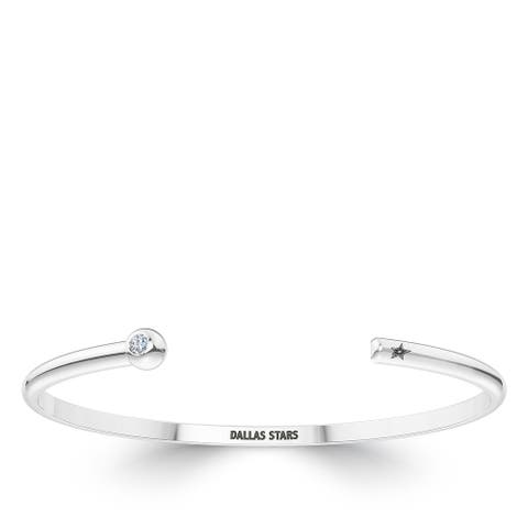 Dallas Stars Engraved Sterling Silver Diamond Cuff Bracelet