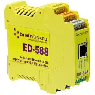 """Brainboxes ED-588 Brainboxes ED-588 Ethernet to Digital IO 8 Inputs + 8 Outputs - 1 x Network (RJ-45) - 1 x Serial Port - Fast"