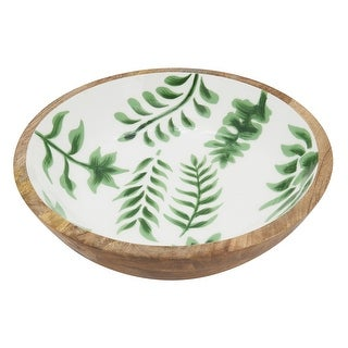 """Link to Wood Bowl With Tropical Leaves Enamel Design - 14""""x14"""" Similar Items in Serveware"""