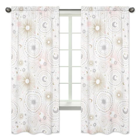 Sweet Jojo Designs Pink, Gold and Grey Star and Moon Celestial Collection 84-inch Window Treatment Curtain Panel Pair
