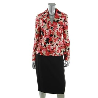 Le Suit Womens Floral Print 3-Button Blazer Skirt Suit - 4