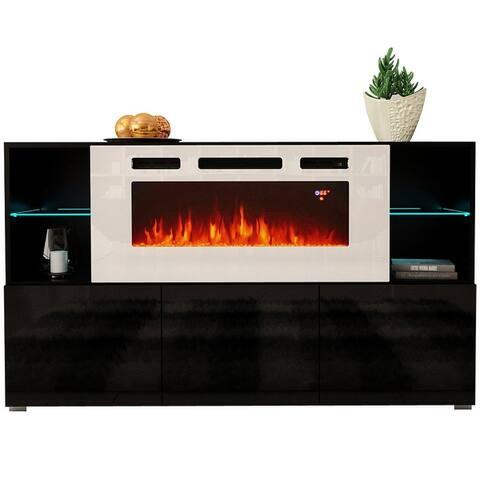 Komi WH03 63-inch Modern Electric Fireplace Sideboard