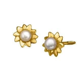 Girl's 2.5 mm Freshwater Pearl Flower Stud Earrings in 14K Gold
