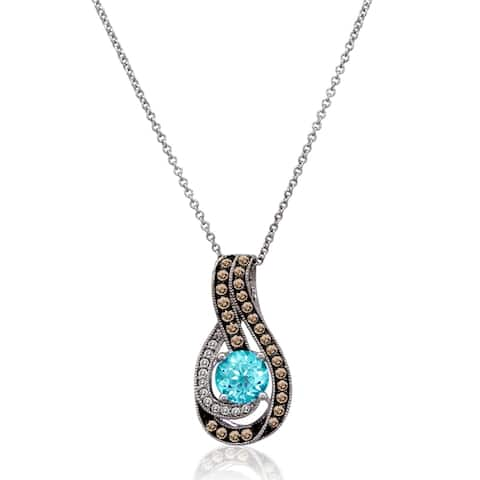 Encore by Le Vian 14k White Gold Blue Topaz and 1/4ct Chocolate and White Diamond Pendant