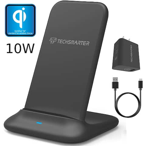 Techsmarter Fast Charging Wireless Charger Stand Dock, Qi Certified for iPhone 11, XS, XR, X, 8 Samsung S20, S10, S9, S8, S7