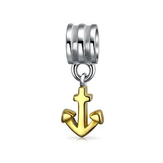 Bling Jewelry Nautical Anchor Dangle Bead Charm .925 Sterling Silver