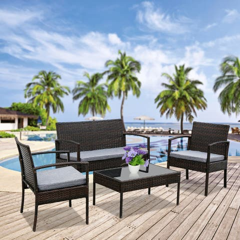 4 PCS Outdoor Patio Rattan Wicker Furniture Set with Table Sofa Cushioned