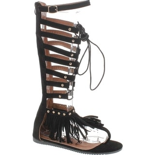 Forever Embrace 17 Womens Caged Gladiator Wrap Around Lace Up Flat Sandals Black