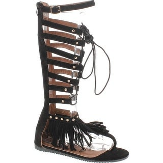 c49105d51d55 Forever Embrace 17 Womens Caged Gladiator Wrap Around Lace Up Flat Sandals  Black
