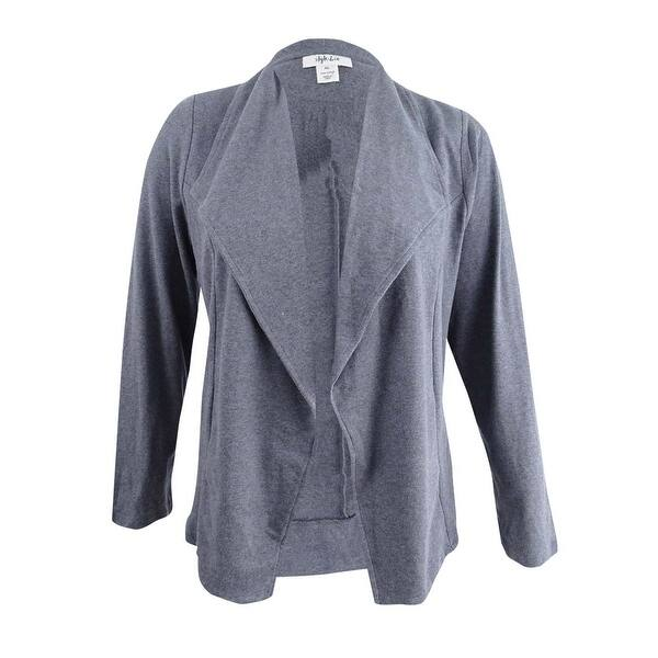 eccc1f2c9d98f Shop Style & Co Women's Knit Blazer (XL, Steel Grey Heather) - Steel ...