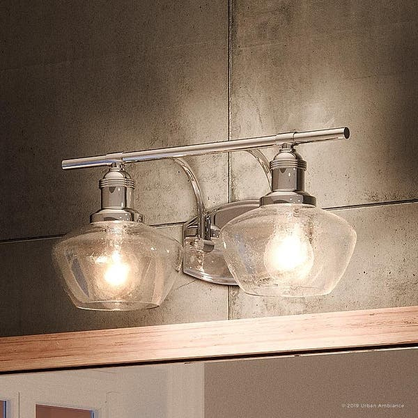 Luxury Vintage Bathroom Vanity Light 7 5 H X 17 W With Farmhouse Style Brushed Nickel Finish By Urban Ambiance Overstock 27194590