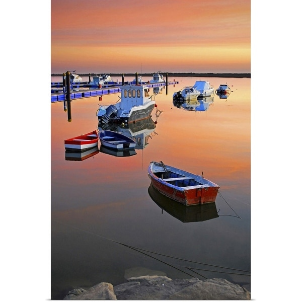 """""""Moored boats on sea at sunset."""" Poster Print"""