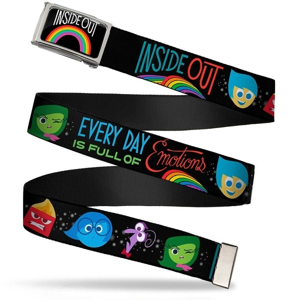 Inside Out Rainbow Fcg Black White Multi Color Chrome Inside Out Web Belt