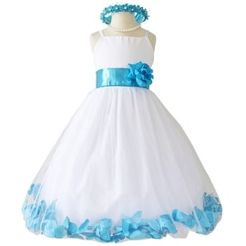 Flower Girl Dresses Rose Petal Wallao White (Baby - 14) Turquoise Blue