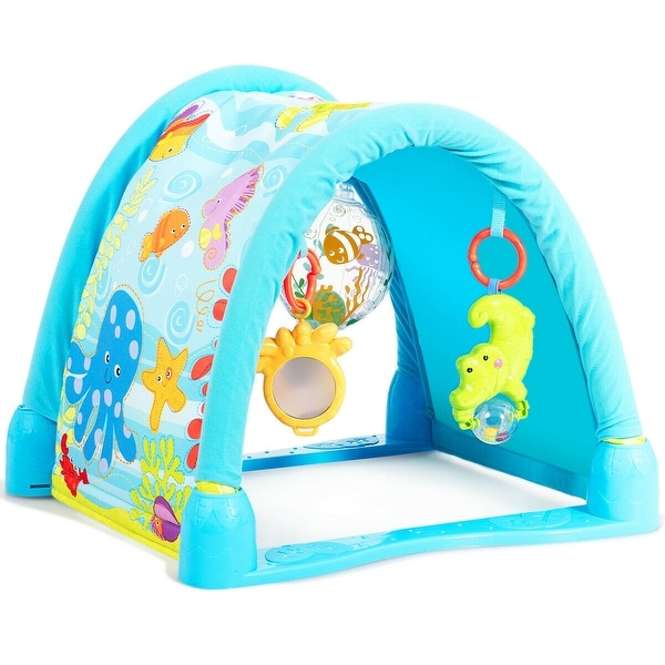 Gymax 4-in-1 Activity Play Mat Baby Activity Center w/3 Hanging Toys - Green. Opens flyout.