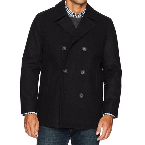 Nautica Mens Coat Black Size Large L Double-Breasted Peacoat Wool