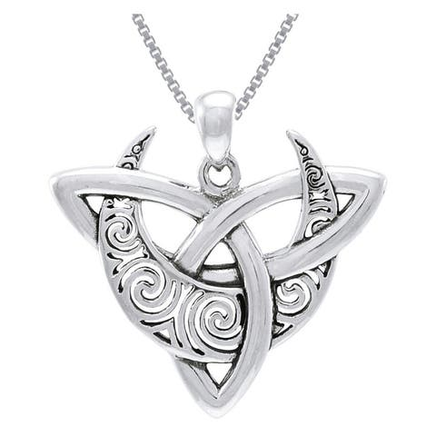 """Celtic Triquetra Moon Goddess Trinity Knot Sterling Silver Pendant Necklace 20"""""""