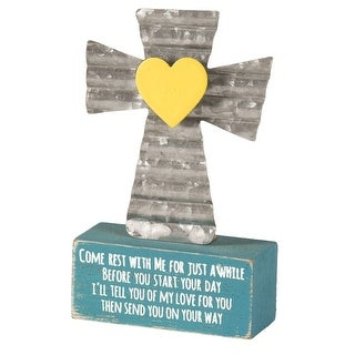 """4"""" Silver Table Top Cross with MDF Base Quoting 'Come Rest with Me'"""