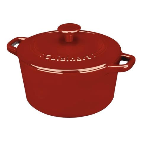 Cuisinart CI630-20CR Chef's Classic Enameled Cast Iron 3-Quart Round Covered Casserole, Cardinal Red