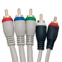 High Quality Component Video and Audio RCA Cable, 3 RCA (RGB) and 2 RCA (Right and Left) Male, Gold-plated Connectors, 6 foot