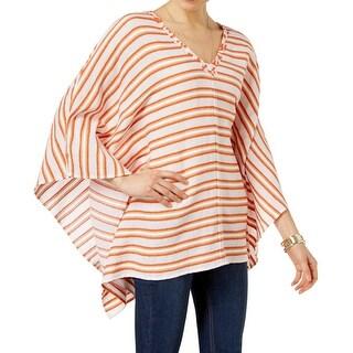 MICHAEL Michael Kors NEW Orange Women's Medium M Stripe Poncho Sweater