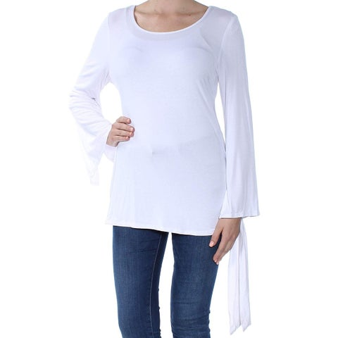 NY Collection White Women's Medium M Side-Tie Scoop Neck Knit Top