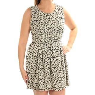Womens Ivory Chevron Sleeveless Micro Mini Fit + Flare Dress Size: L
