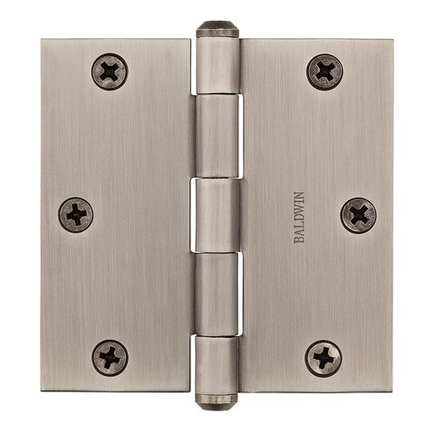 "Baldwin BR7025 3.5"" x 3.5"" Solid Brass Square Corner Plain Bearing Mortise Hinge - Single Hinge - N/A"