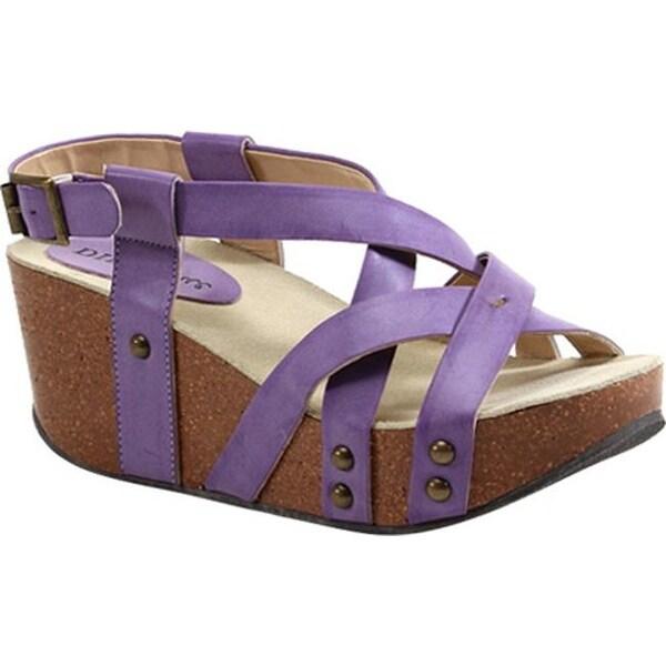 Shop Diba True Womens Floor Me Wedges Purple Imi Leather Free