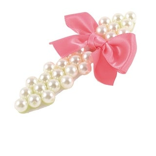 Pink Bowtie Faux Pearl Alligator Designed Hair Clip