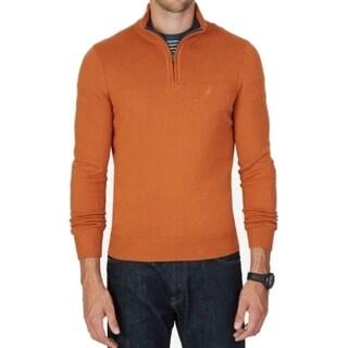 Nautica NEW Tanglo Orange Men Size XL Quarter Zip Pullover Knit Sweater