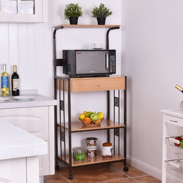 Shop Simple Living Rolling Galvin Microwave Cart: Costway 59'' Bakers Rack Microwave Stand Rolling Kitchen