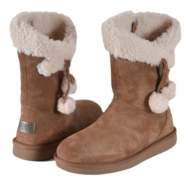 Women's UGG Australia PLUMDALE Chestnut Sheepskin Charm Short Boots Shoes. Opens flyout.