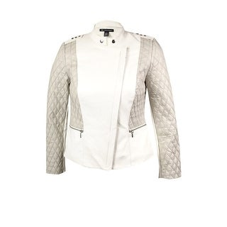 INC International Concepts Women's Quilted Moto Jacket - washed white