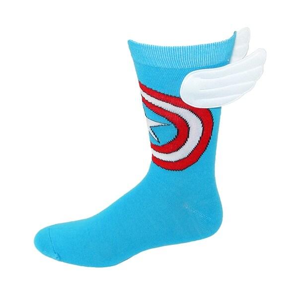 BioWorld Men's Marvel Captain America Shield Crew Sock with Wings