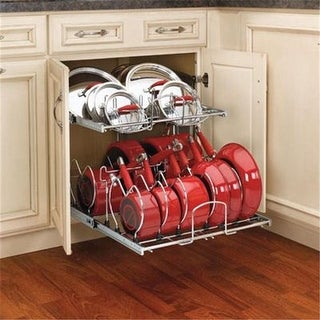 Rev A Shelf 20.75 in. Two Tier Pullout Cookware Organizer, Chrome