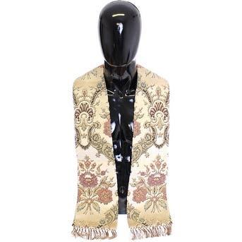 Dolce & Gabbana Scarf Men's Beige Silk Necktie Baroque Men's Pattern - one-size