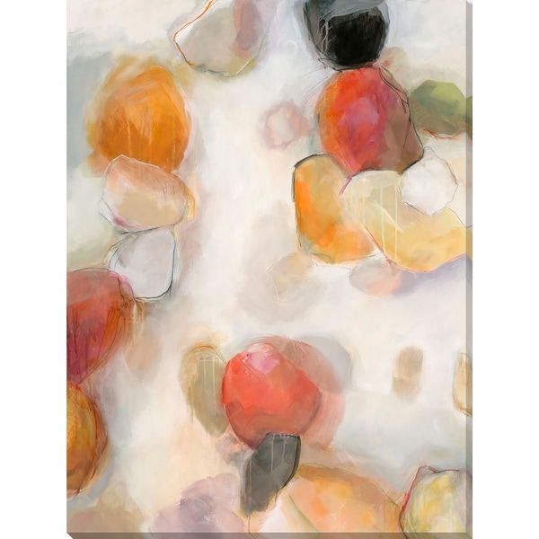 "Ivory and Orange Contemporary Style Rectangular Canvas Wall Art Decor 18"" x 14"" - N/A"