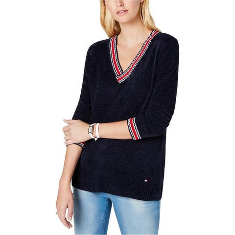 Tommy Hilfiger Womens Chenille V-Neck Pullover Sweater