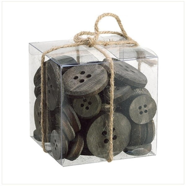 "4"" Country Cabin Assorted Rusted Gray and Brown Wooden Buttons in Decorative Clear Box"