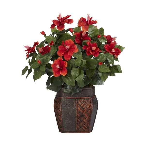 Nearly Natural Hibiscus with Vase Silk Plant Red