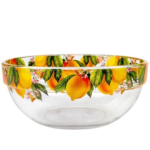 STP-Goods Lemon Durable Glass Salad Serving Bowl for Home