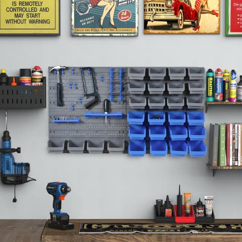 DURHAND 44 Piece Wall Mounted Tool Organizer Rack Kit with Storage Bins, Pegboard and Hooks, Blue