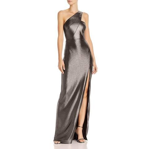 Aidan by Aidan Mattox Womens Formal Dress Metallic Cut-Out - Gunmetal Black