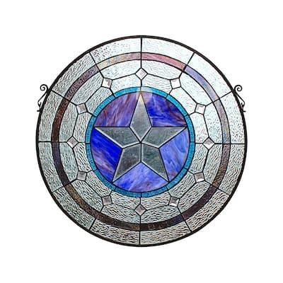 Gracewood Hollow Mujila Tiffany-style Round Window Panel Suncatcher